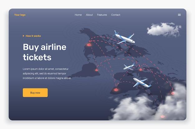 Avião voando isométrico e nuvens acima dos continentes. modelo de página de destino.