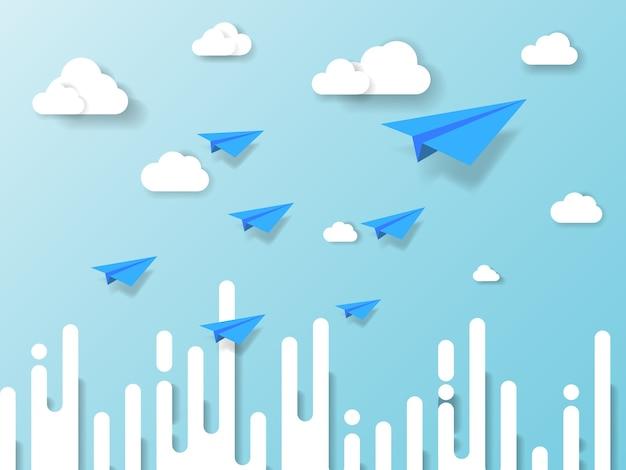 Avião voando no céu azul com nuvem e fundo abstrato