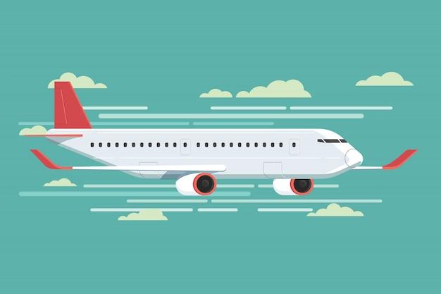 Avião voando no céu. ilustração vetorial