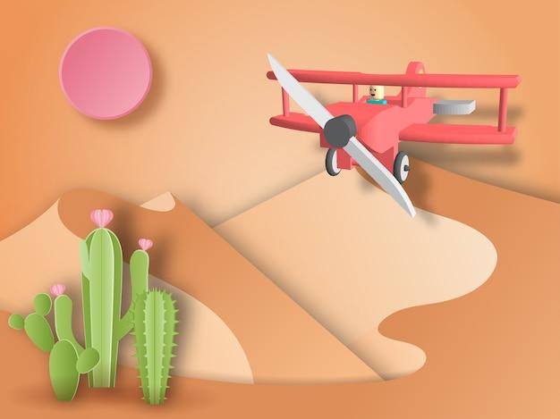 Avião voando no deserto