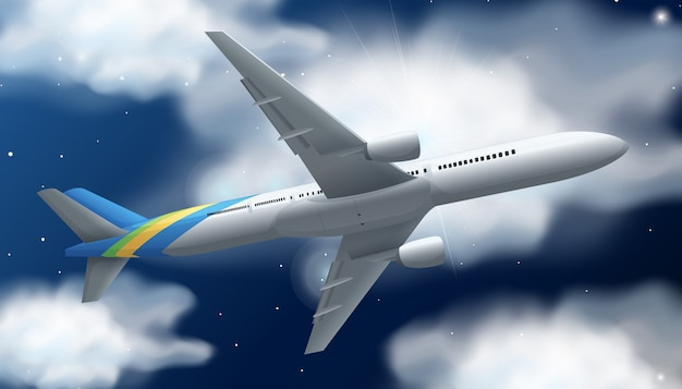 Avião voando no período nocturno