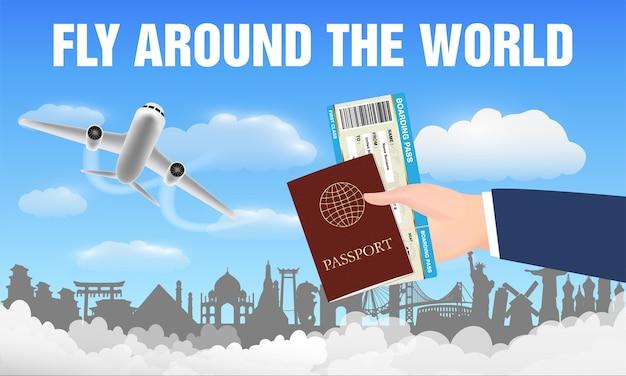 Avião voar ao redor do mundo e passe o passaporte