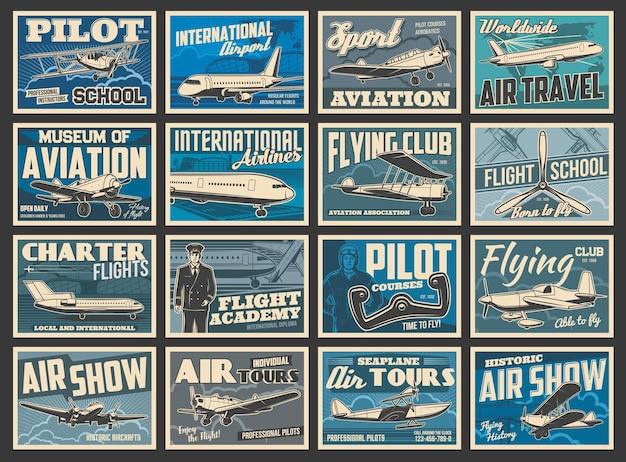 Aviões, aeronaves voadoras, academia de aviação, pôsteres retrô vintage