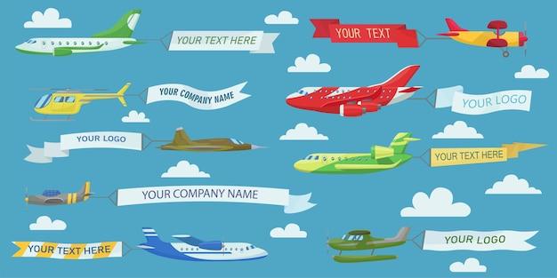 Aviões criativos voando com banners de publicidade conjunto de ilustração plana