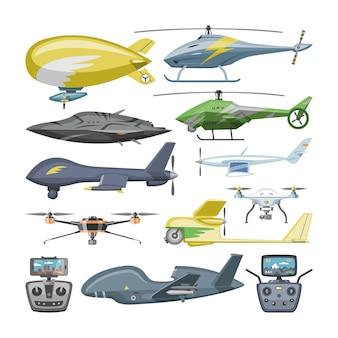 Aviões de helicóptero helicóptero ou avião de rotor e helicóptero jato vôo transporte no céu ilustração aviação conjunto de carga de avião e airfreighter com hélice no fundo branco