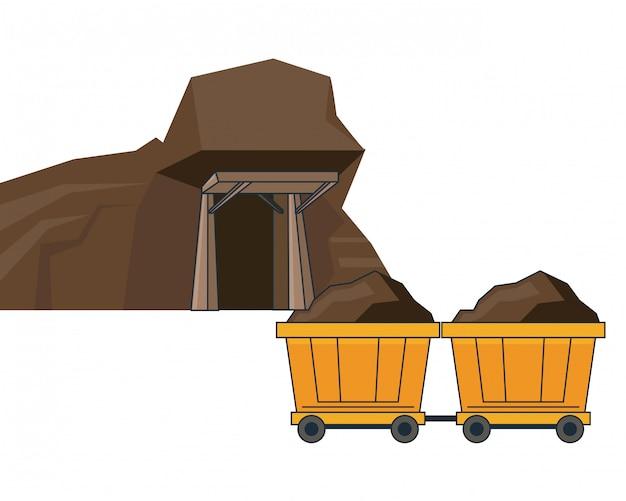 Aviões de mineração e carros de carroça