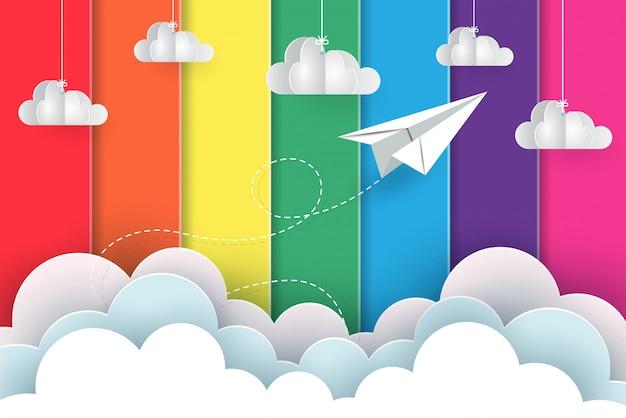 Aviões de papel branco voam no fundo