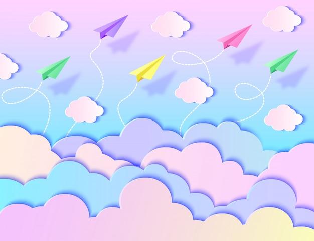 Aviões de papel, céu e nuvens. ilustração vetorial estilo de arte de papel