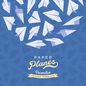 Aviões de papel em azul
