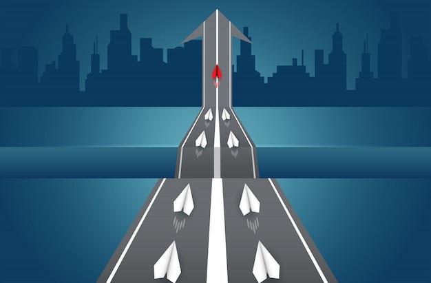 Aviões de papel estão competindo na estrada para o destino. liderança.