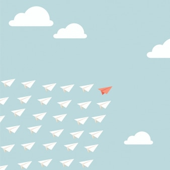 Aviões de papel que voam no céu