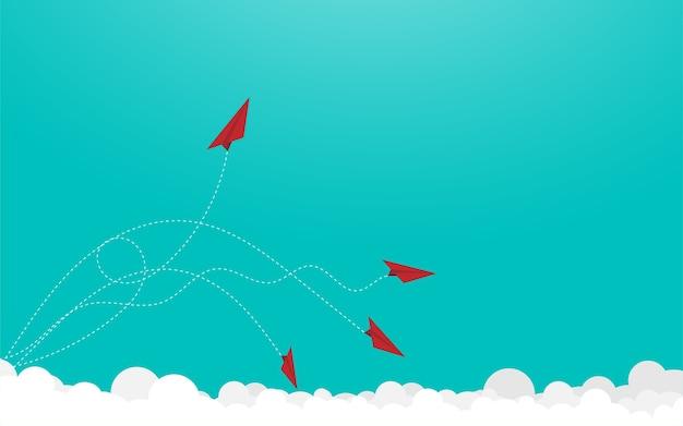 Aviões de papel vermelho