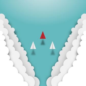 Aviões de papel voando de nuvens no céu