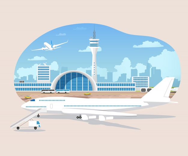 Aviões esperando e decolagem no vetor do aeroporto