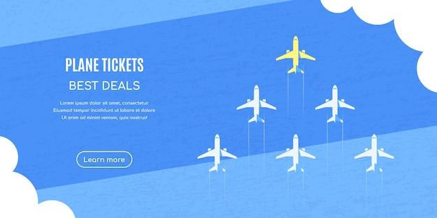 Aviões voando acima das nuvens sobre o plano de fundo texturizado azul, ilustração do estilo simples.