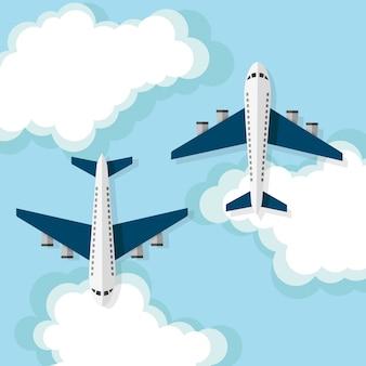 Aviões voando nas nuvens