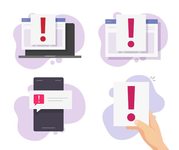Aviso de alerta de cuidado com mensagem on-line no site de fraude de pesca e documento de telefone celular