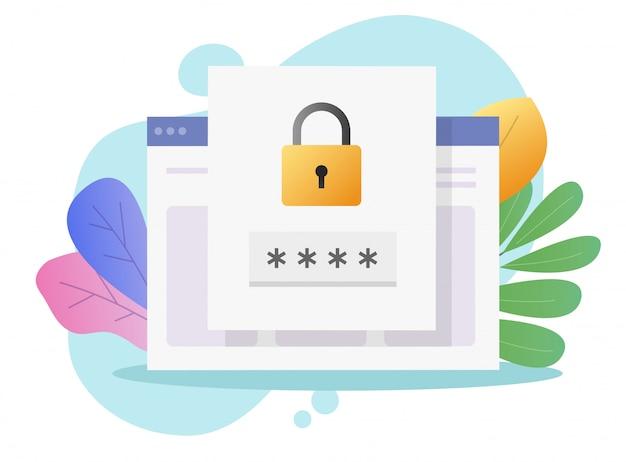Aviso de bloqueio de acesso de segurança de senha de site on-line na página do documento ou código de login de verificação notificação de internet na web para ilustração plana de autenticação