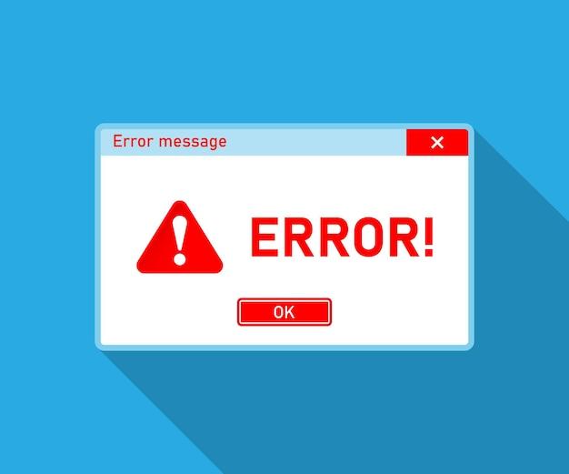 Aviso de erro do sistema operacional do windows