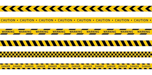 Aviso de fita amarela conjunto stripes bordas