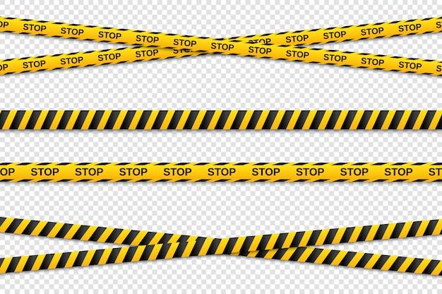 Aviso de fitas sem costura amarelas e pretas