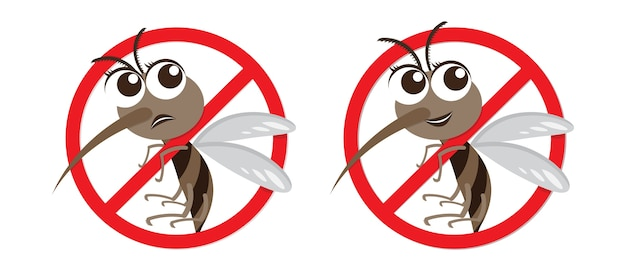Aviso de vetor e personagem de desenho animado anti mosquito