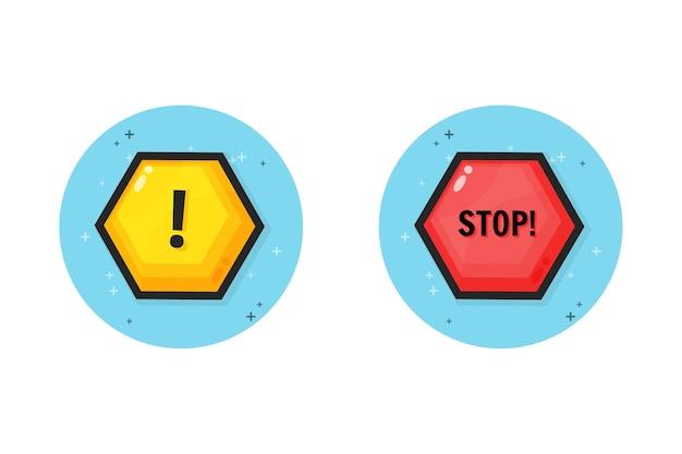 Aviso e design do ícone de parada