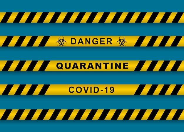 Aviso listras covid2019 para o projeto vector listras amarelas e pretas com avisos