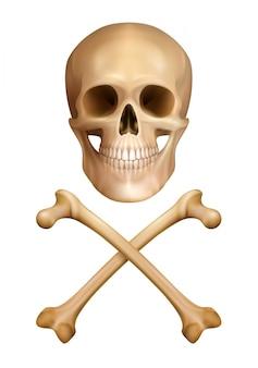 Aviso tradicional do conceito de perigo em estilo realista com crânio humano e ossos cruzados