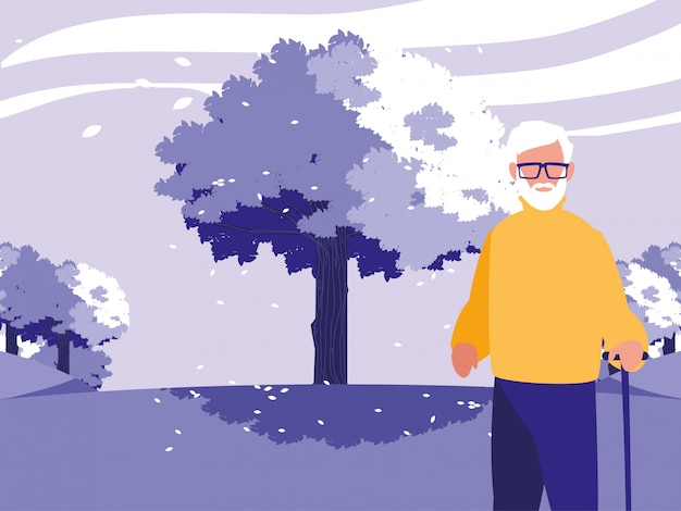 Avô avatar velho na frente de uma árvore