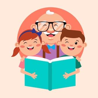 Avô com crianças lendo livro de ilustração de desenho animado