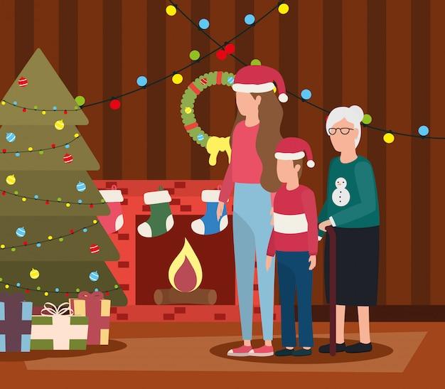 Avó com filha e neto na sala de natal decorada