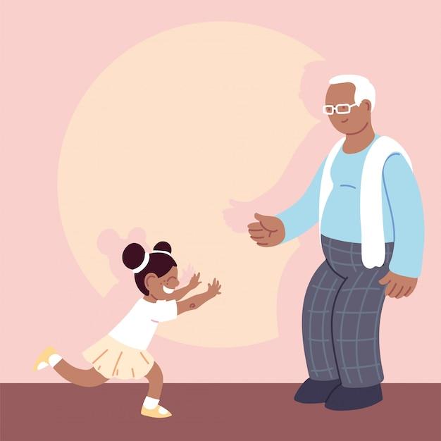 Avô com ggranddaughter, feliz dia dos avós