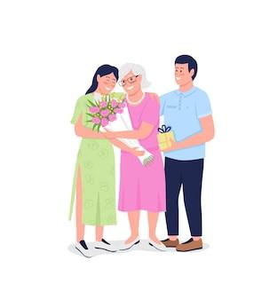 Avó com netos adultos personagens com detalhes em cores planas