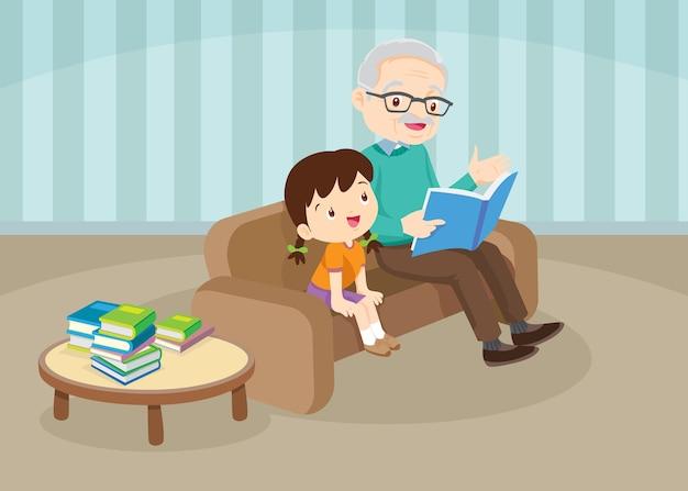 Avô com netos lendo um livro