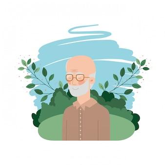 Avô com personagem de avatar de paisagem