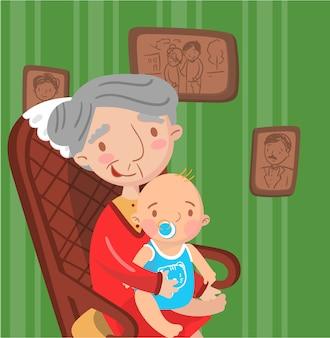 Avó com seu neto, foto no fundo do interior da sala retrô,