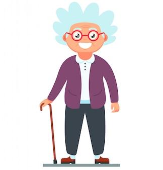 Avó com uma bengala de pé
