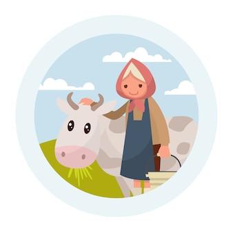 Avó com uma vaca. o emblema de produtos lácteos.