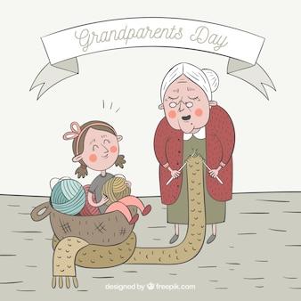 Avó costurando com sua neta