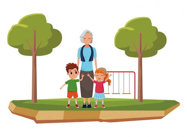 Avó da família com desenhos animados dos netos
