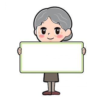 Avó de personagem de desenho animado, segurando a placa
