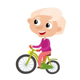 Avó desportiva elegante bonita em estilo cartoon, isolado no branco. ilustração de velha feliz de bicicleta