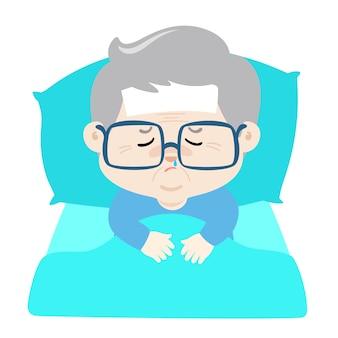 Avô doente deitado na cama com gripe.
