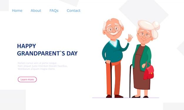 Avô e avó alegres