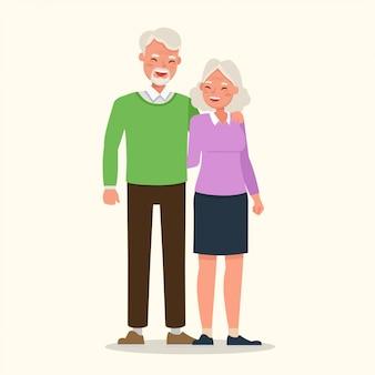 Avó e avó de família feliz.