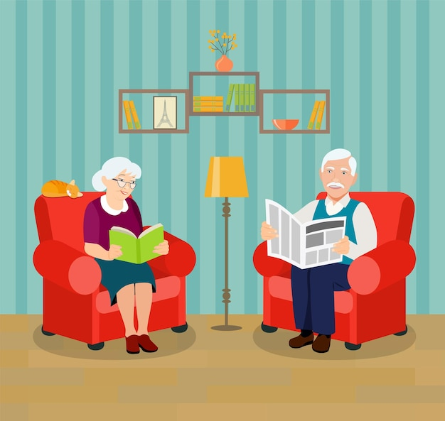 Avô e avó lendo livro e jornal ilustração em vetor estilo simples