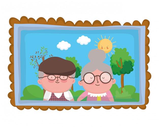 Avó e avô personagem de desenho animado