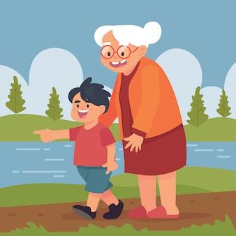 Avó e criança caminham juntos no parque