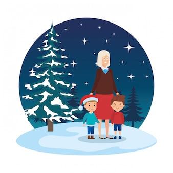 Avó e crianças no snowscape
